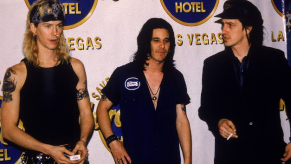 Duff McKagan, left to right, Gilby Clarke, and Izzy Stradlin of Guns N