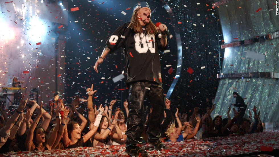 Axl Rose and Guns N' Roses perform at the 2002 MTV Video Music Awards in New York City.