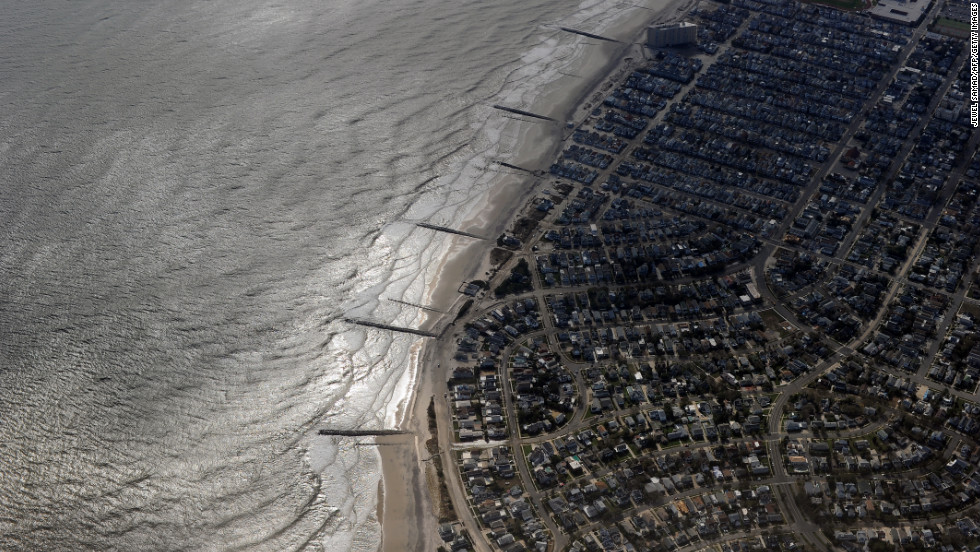 Buildings on the shoreline are pictured from Air Force One as it prepares to land in Atlantic City, New Jersey, carrying President Barack Obama, who visited areas hardest hit by the unprecedented storm.