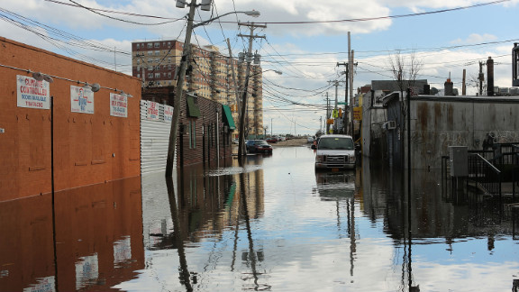 Flood damaged streets are viewed in the Rockaway section of Queens where the historic boardwalk was washed away due to Sandy.