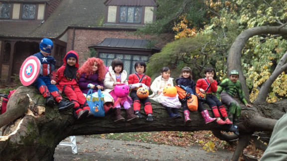 Lots of trees were down in the Forest Hills section of Queens, but Vered Cohen said the children were excited to just be out of the house after the storm.
