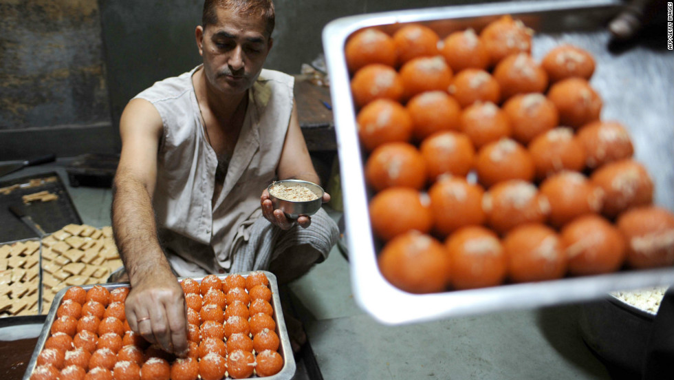 Traditional sweets, known as mithai, are in heavy demand during Diwali. Among them include Karanji, a pastry stuffed with dried fruit, semolina and coconut,  Laddoos (ball-shaped sweets),  Puran Poli ( sweet stuffed flatbread), poori  (fried bread), Gulab Jamun (sticky ball-shaped dessert), kheer (Indian rice pudding) and Jalebi (deep-fried chewy dessert).