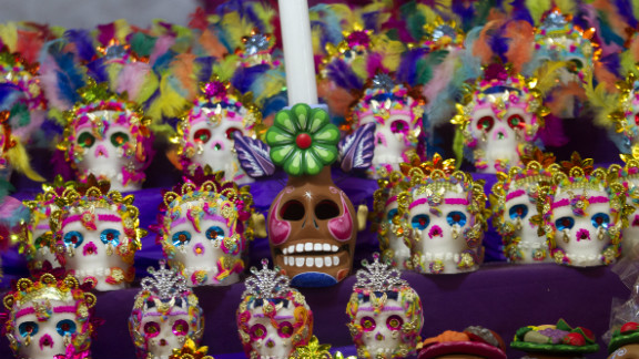 Traditional sugar calaveritas, or little skulls, are displayed in Mexico City on October 31 ahead of the Day of the Dead.