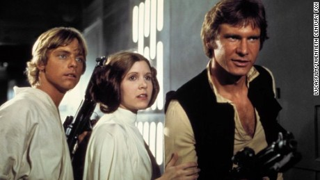 Luke, Leia and Han in a scene from the first film.