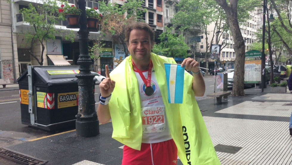 Adam Chataway set himself the challenge of running six marathons on six continents in less than 30 days. The journey started on October 7 in the Argentine capital of Buenos Aires, and ends in New York on Sunday.