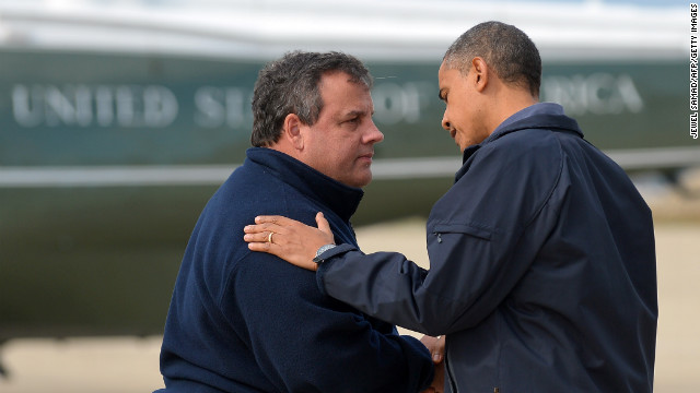 President Obama is greeted by New Jersey Governor Chris Christie upon arriving in Atlantic City to visit areas hardest hit by the unprecedented Sandy.