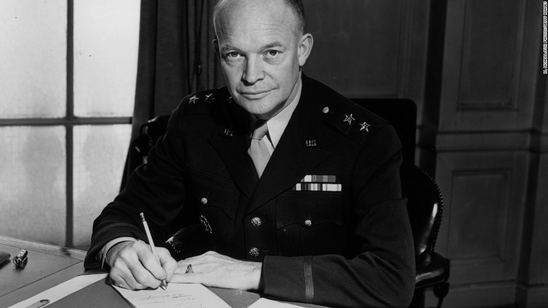 "Dwight D. Eisenhower (1953-1961) had been supreme commander of the European Allied forces during World War II, and he ordered the Normandy invasion on D-Day. His popular presidential campaign slogan was ""I like Ike!"""