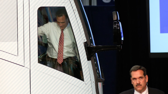 Romney gets ready to step off his campaign bus during an event Thursday, November 1, in Doswell, Virginia.