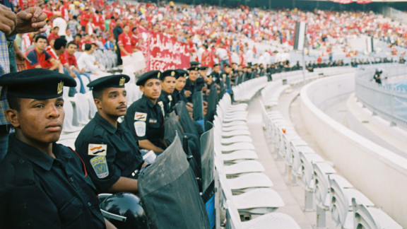 Such were their numbers that security was tight. Members would be arrested and revolutionary, anti-regime chants could be heard from the stands.