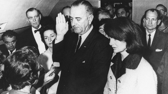 """Lyndon B. Johnson (1963-1969) was vice president under John F. Kennedy and took the oath of office on a plane after Kennedy was assassinated. In 1964, Johnson signed the Civil Rights Act, the landmark legislation that banned segregation and discrimination based on race and gender. The law was a cornerstone of Johnson's vision of a """"Great Society"""" that also included a """"war on poverty."""""""