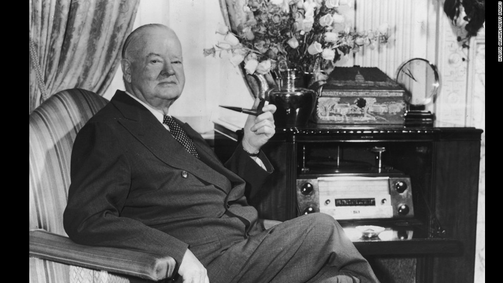 "Herbert Hoover (1929-1933) was inaugurated on the year of the stock market crash that sent the country into the Great Depression. Although Hoover pushed for money to be appropriated for large-scale projects, he opposed federal relief payments directly to individuals. The national economy never recovered during his term, and the shantytowns that developed were nicknamed ""Hoovervilles."""