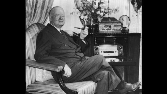 """Herbert Hoover (1929-1933) was inaugurated on the year of the stock market crash that sent the country into the Great Depression. Although Hoover pushed for money to be appropriated for large-scale projects, he opposed federal relief payments directly to individuals. The national economy never recovered during his term, and the shantytowns that developed were nicknamed """"Hoovervilles."""""""