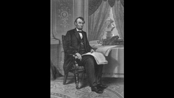 Abraham Lincoln (1861-1865), purveyor of tall top hats and log cabins, preserved the Union during the Civil War and freed the slaves through the Emancipation Proclamation. He was assassinated by actor John Wilkes Booth, a Confederate sympathizer.