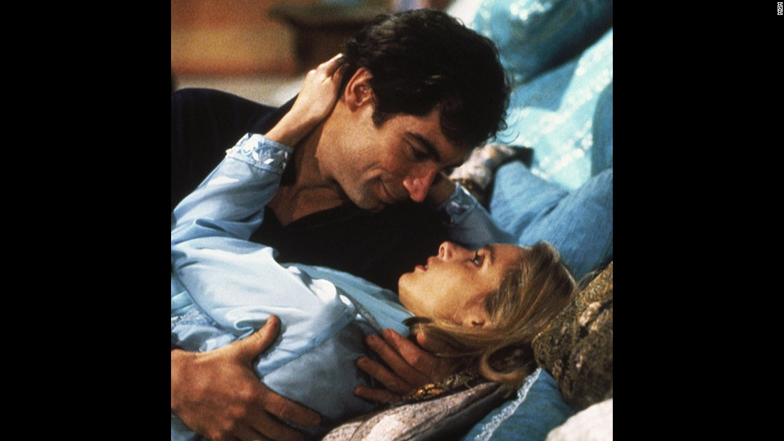 "Bond shoots a gun out of cellist Kara Milovy's hands in 1987's ""The Living Daylights."" Maryam d'Abo played Milovy opposite Timothy Dalton's Bond."