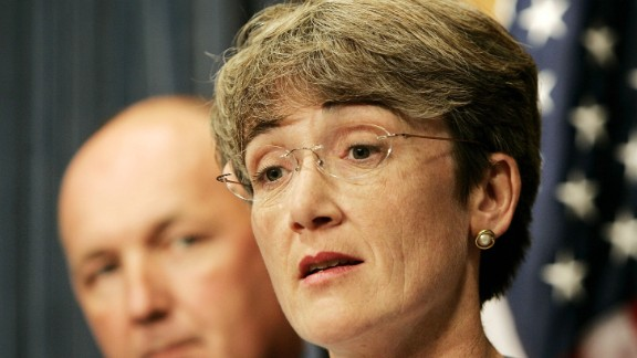 WASHINGTON - SEPTEMBER 20: Rep. Heather Wilson (R-NM), speaks with Rep. Pete Hoekstra (R-MI), chairman of the House Intelligence Committee, during a news conference on the FISA surveillance bill mark-up at the U.S. Capitol September 20, 2006 in Washington, DC. If the act expires it would repeal the requirement in current law that all national security surveillance conducted domestically be overseen by the courts.