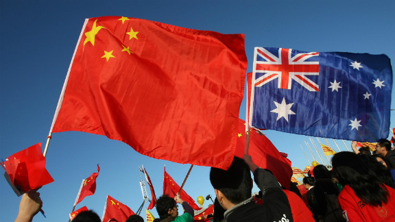 Thousands of Chinese supporters rally outside Parliament House during the Beijing 2008 Olympic torch relay through Canberra on April 24, 2008.