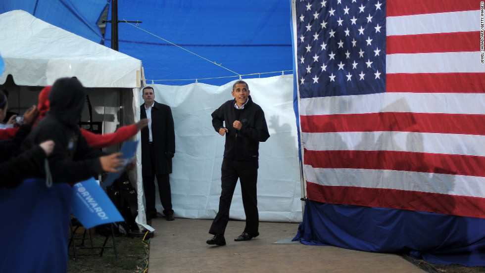 Obama arrives at a campaign rally in Dubuque, Iowa, on Saturday, November 3.