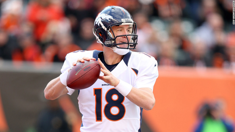 Broncos quarterback Peyton Manning throws a pass during the game against the Bengals.