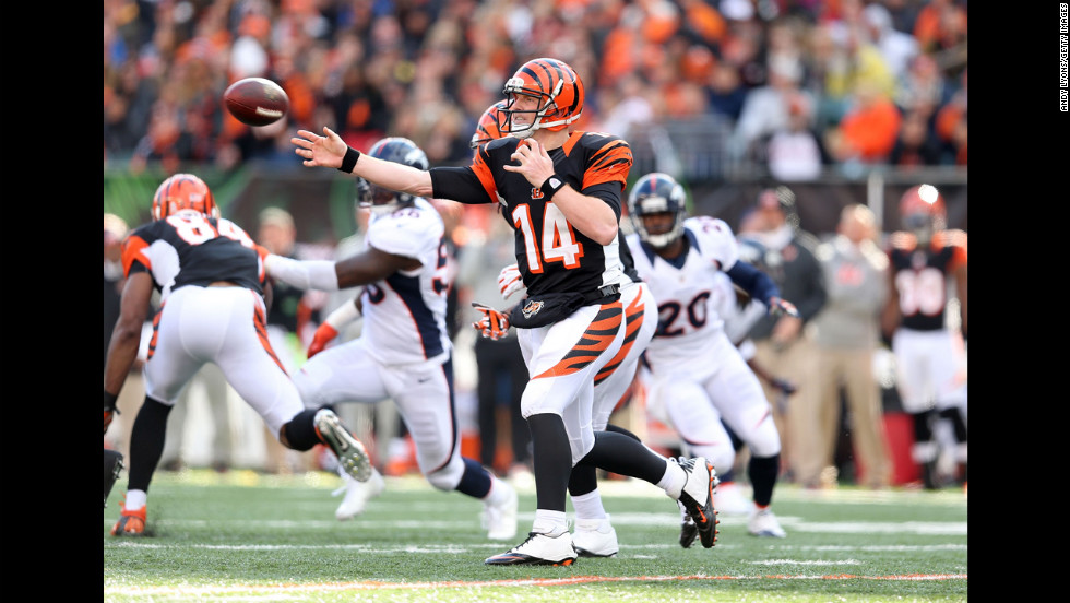 Andy Dalton of the Bengals throws a pass during the game against the Broncos.