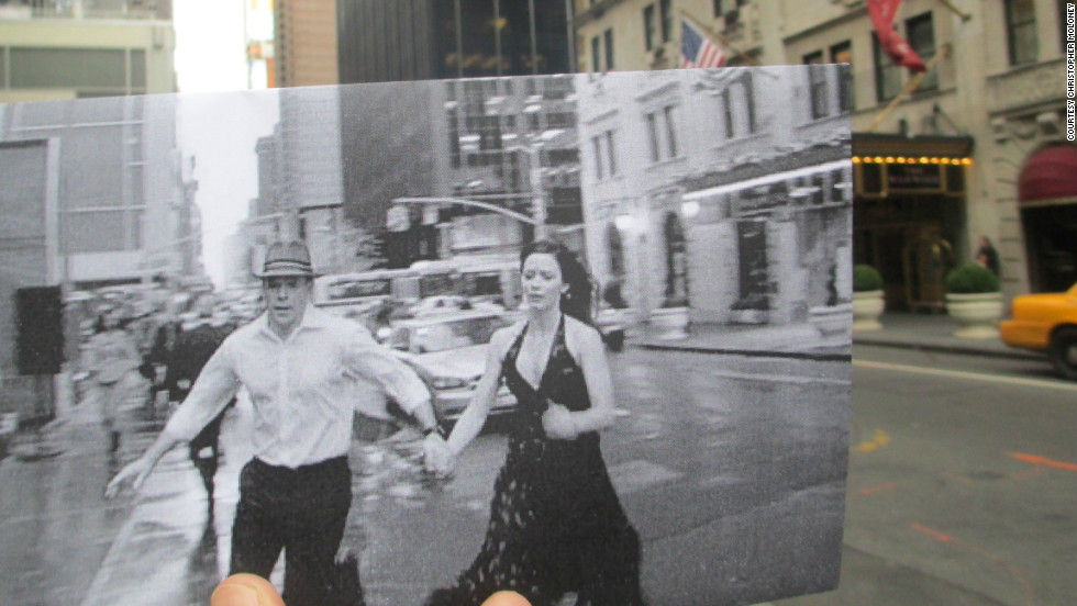 "Matt Damon and Emily Blunt race past The Warwick Hotel at 54th Street and 6th Avenue in Manhattan. Film fans will recognize the hotel from the Jack Lemmon film ""How to Murder Your Wife."" In the background you can see the Hilton Hotel featured in ""Michael Clayton"" and ""Malcolm X."""