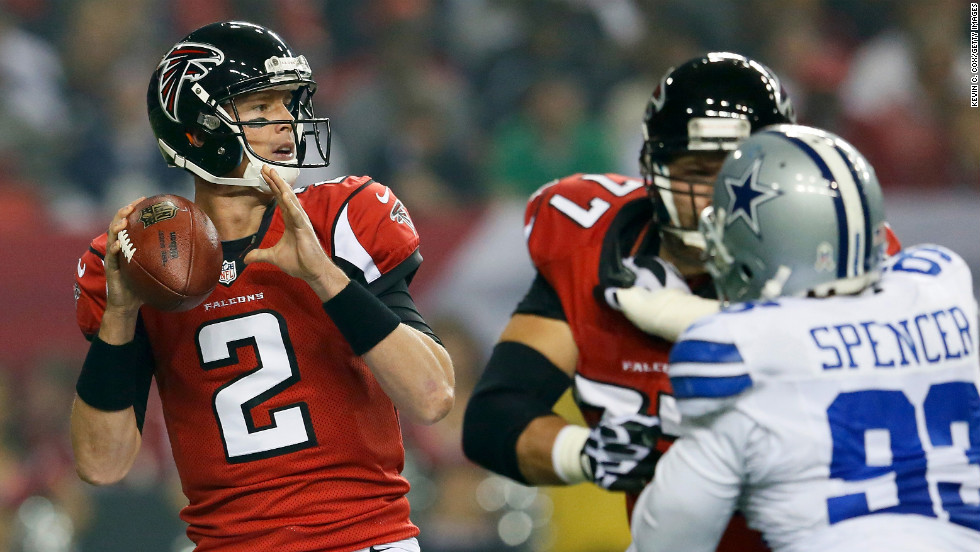Falcons quarterback Matt Ryan steps back in the pocket during Sunday's game against the Cowboys.