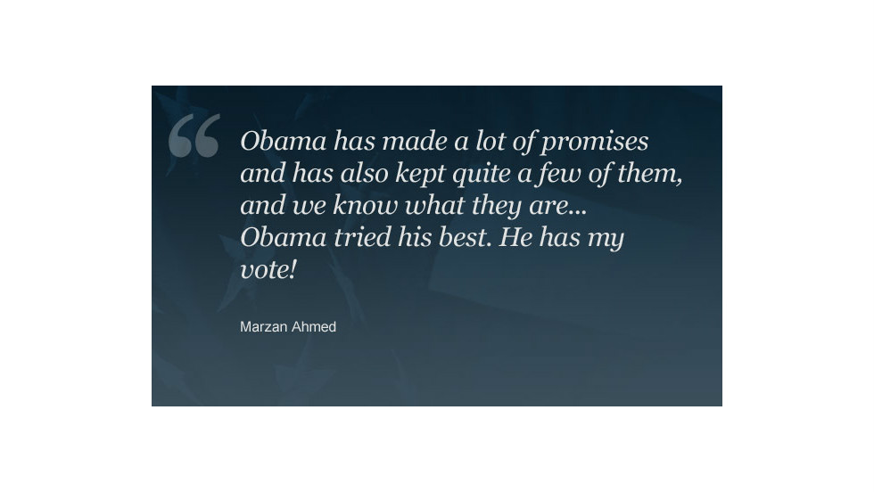 "Commenter <a href=""http://www.cnn.com/2012/11/02/opinion/romney-vision-for-america/index.html#comment-698520801"">Marzan Ahmed</a> explains why he is voting for Obama."