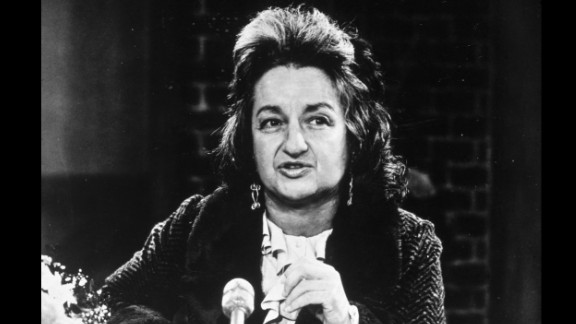 Feminist leader Betty Friedan speaks at a National Organization for Women gathering circa 1970.