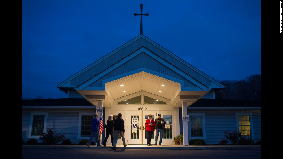 Voters enter the polling site at StarBridge Christian Center in Wildwood, Missouri.