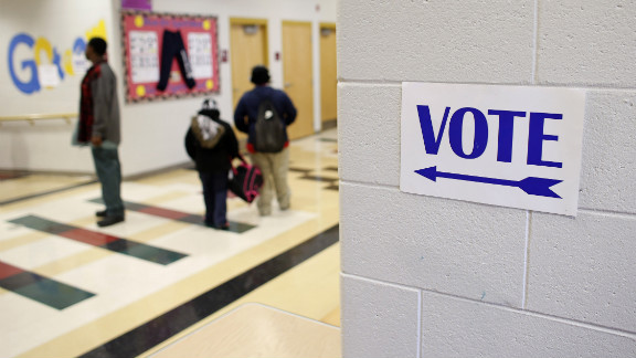 A sign directed voters to the gymnasium at Dr. Martin Luther King, Jr. School in Milwaukee, Wisconsin.