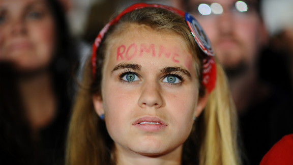 A Romney fan shows her support at Monday's rally in Columbus.