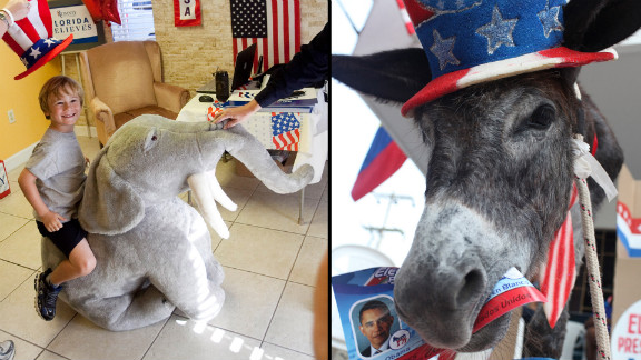 Each party has its good-luck superstitions. Republicans rub the trunk of a stuffed elephant, while loyal Democrats feed pictures of the president to a donkey.