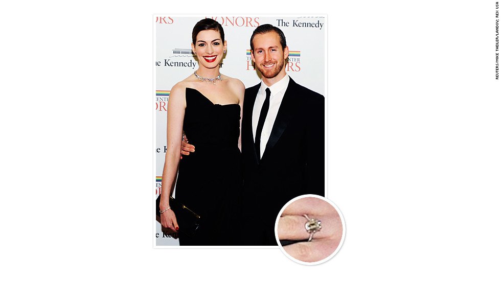 Actor Adam Shulman popped the question to Anne Hathaway in 2011 with a 6-carat emerald-cut diamond ring by New York jewelry company Kwiat.