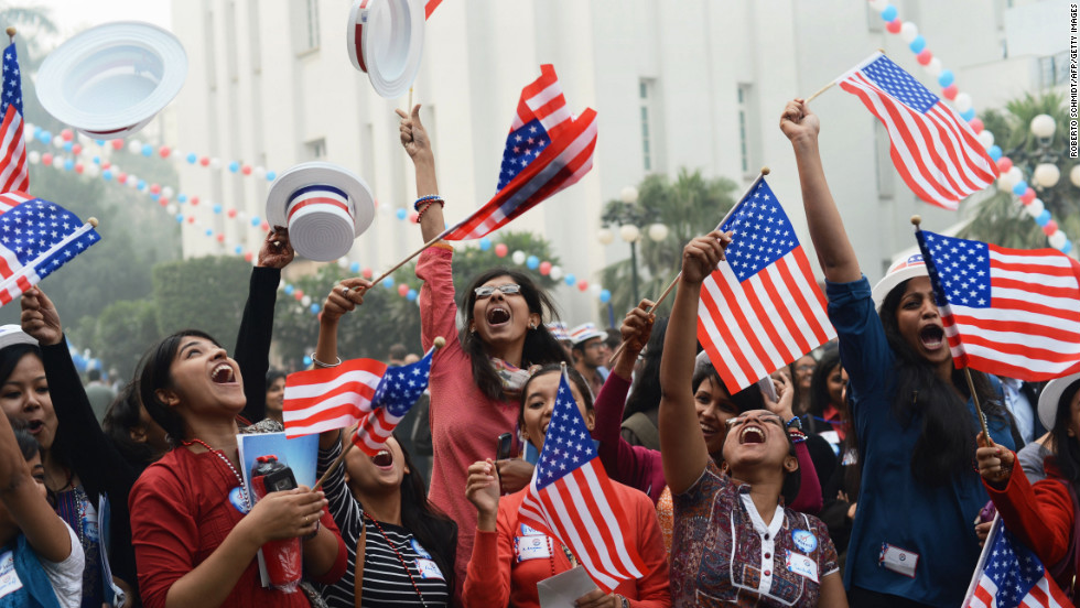 University students in Delhi, India, celebrate Wednesday after hearing about Obama's re-election during a U.S. Embassy party.