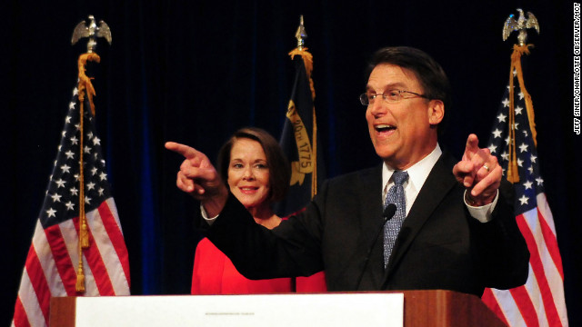 Republican Pat McCrory celebrates his victory in the North Carolina gubernatorial race over Democrat Walter Dalton on Tuesday, November 6, 2012, in Charlotte, North Carolina.