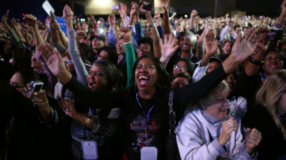 Obama supporters celebrated the president's projected victory at a watch party at McCormick Place in Chicago, Illinois.