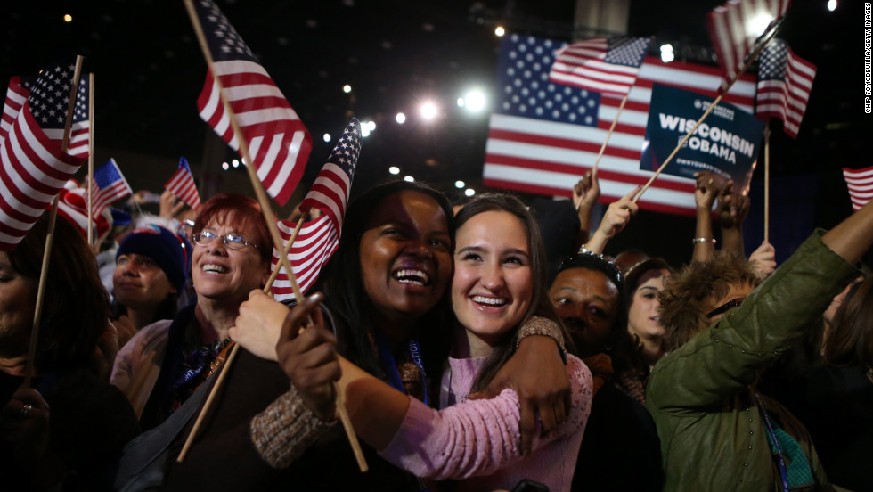 President Obama's young supporters in Chicago cheered and waved flags.