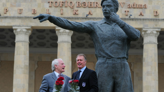 It is not just managers and players who have been immortalized in sculpture form. In Baku, Azerbaijan, there is a statue of the 1966 World Cup final linesman Tofig Bahramov outside the Tofig Bahramov stadium. Here former West Germany goalkeeper Hans Tilkowski and former England striker Sir Geoff Hurst are pictured standing next to the the Bahramov statue in June 2011.