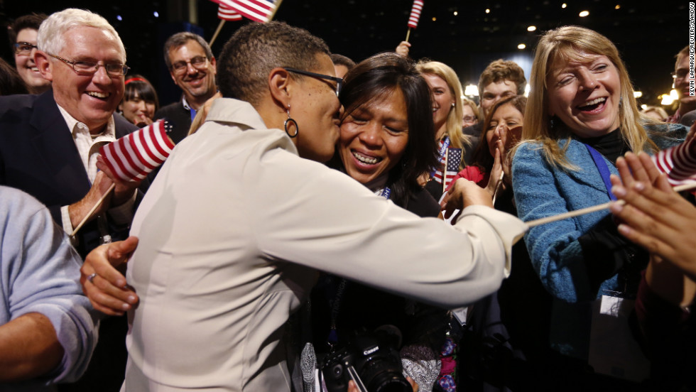 Keesha Patterson, left, proposed to Rowan Ha during a rally at Obama headquarters in Chicago. The women live in Maryland, where voters approved same-sex marriage.