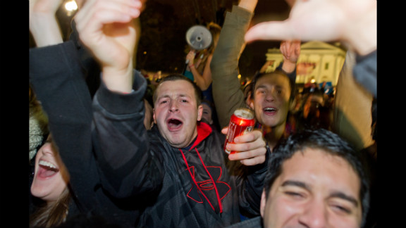 People celebrated in front of the White House in Washington after Barack Obama won a second term as president.