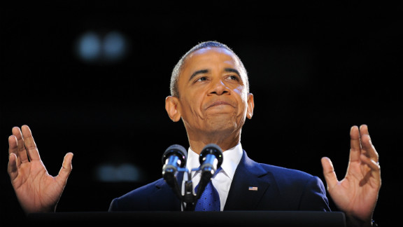 """""""We know in our hearts that for the United States of America, the best is yet to come,"""" President Obama said in a victory speech met by prolonged cheers."""