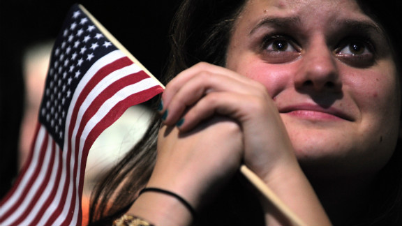 Emotion washed over an Obama supporter as the newly reeleted president deivered his victory speech in Chicago.