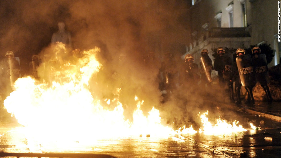 Petrol bombs exploded during a demonstration in Athens on November 7, 2012.