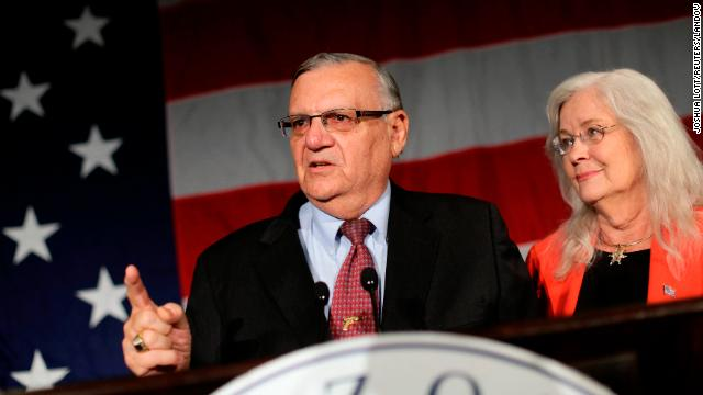 Image #: 20021267    Maricopa County Sheriff Joe Arpaio speaks next to his wife Ava Arpaio during the Republican Party election night event in Phoenix,  Arizona November 6, 2012. Arpaio defeated Democratic sheriff candidate Paul Penzone to win his sixth term. REUTERS/Joshua Lott (UNITED STATES - Tags: POLITICS USA PRESIDENTIAL ELECTION ELECTIONS)       REUTERS /JOSHUA LOTT /LANDOV