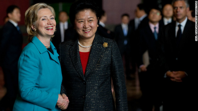 In a moment between two influential female leaders, Hilary Clinton and Liu Yandong shake hands in a meeting in May 2010.