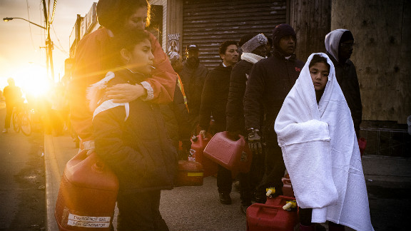 New Yorkers from Rockaway wait in line for gasoline on Tuesday, November 8 in the Rockaway area of Queens, New York.
