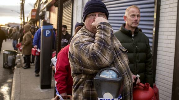 Rockaway residents wait in line for gas.
