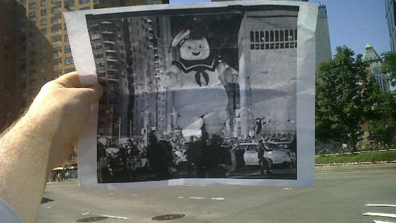"This summer, CNN writer Christopher Moloney (of ""Erin Burnett OutFront"")  noticed that he had the same commute to work as the Stay Puft Marshmallow Man. Inspired, he printed off a black and white screen grab of the scene from ""Ghostbusters"" and snapped a photo.  He posted it online, his friends and family loved it, and his blog FILMography was born."