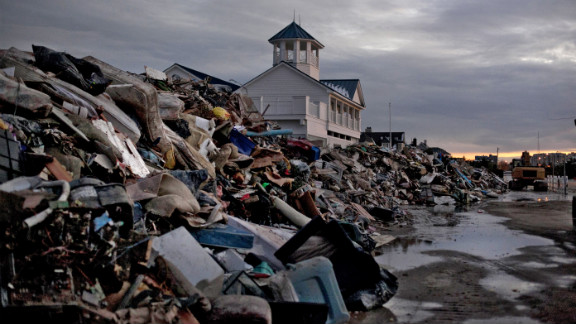 Debris from Superstorm Sandy is seen on a beach Thursday in Long Branch, New Jersey.