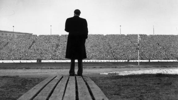 Graham speaks to soccer fans in London during halftime of a match between Chelsea and Newcastle United.