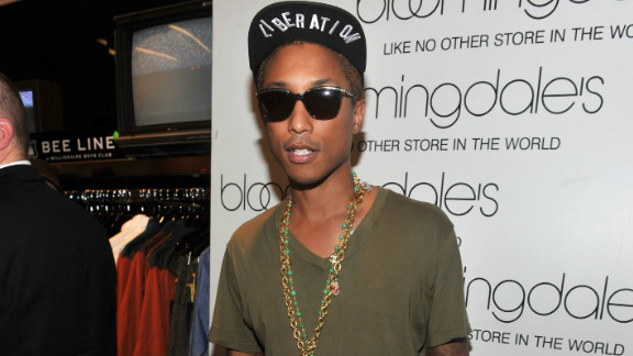 Designer and musician Pharrell Williams makes an appearance at Bloomingdale